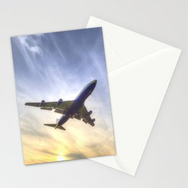 Boeing 747 Sunset  Stationery Cards