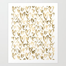 Gold Love Hearts Pattern on White Art Print