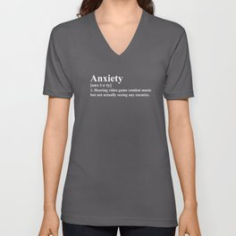 Video Game Anxiety Definition for Gamers Unisex V-Neck