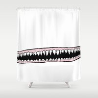 teeth Shower Curtains featuring Teeth. by Ninapedia