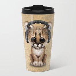 Cute Cougar Cub Dj Wearing Headphones Travel Mug