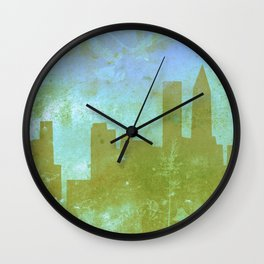 The Hawk and The Fox, town, fox, hawk, blue, white, butterfly Wall Clock