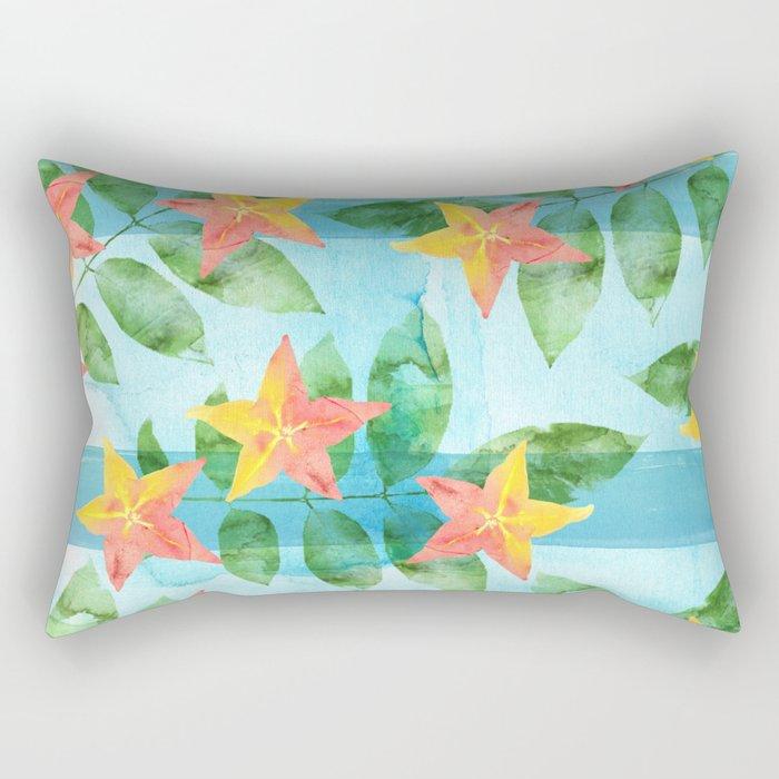 Exotic Star Fruit Pattern Rectangular Pillow