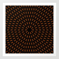 PCT2 Fractal in Orange on Black Art Print