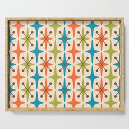 Mid Century Modern Abstract Star Pattern 441 Orange Brown Turquoise Chartreuse Serving Tray