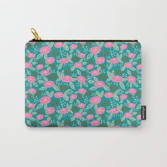 Turquoise blossom blooms painting abstract pattern garden gardener plants summer spring bright  Carry-All Pouch