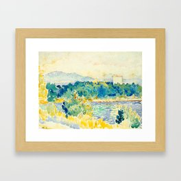 Mediterranean Landscape With a White House Watercolor Landscape Painting Framed Art Print
