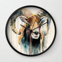 ram Wall Clocks featuring Ram by Slaveika Aladjova