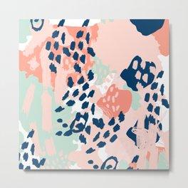 Kala - abstract painting minimal coral mint navy color palette boho hipster decor nursery Metal Print
