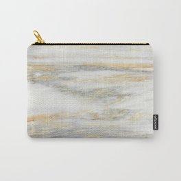 White Gold Marble Texture Carry-All Pouch