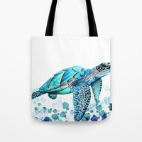 sea turtle Tote Bags featuring Turtle by Ismay Verbeek