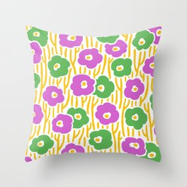 Mid Century Modern Wild Flowers Pink and Green 391 Throw Pillow