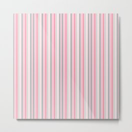Classic Pink and Gray Stripes Metal Print