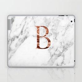 Monogram rose gold marble B Laptop & iPad Skin