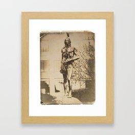 Massasoit Statue, Kansas City, Vintage Postcard Effect Framed Art Print