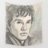 sherlock Wall Tapestries featuring Sherlock by Pendientera