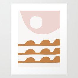 Io - moon art abstract earth tones colors minimalist lunar art print Art Print