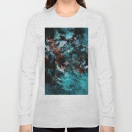 Abstract and Modern Teal Painting Long Sleeve T-shirt