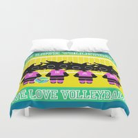 volleyball Duvet Covers featuring We love Volleyball by BLOOP