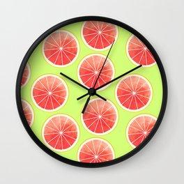 Pink Grapefruit Slices Pattern Wall Clock