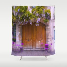 High Quality Paris Wisteria And Charming Door Shower Curtain