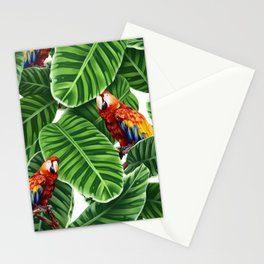 tropical leaves macaw pattern Stationery Cards