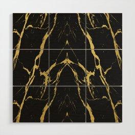 Golden Black Marble Wood Wall Art