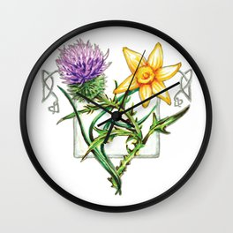 Thistle and Daffodil Wall Clock