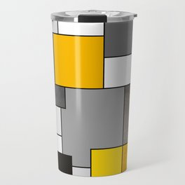 Black Yellow and Gray Geometric Art Travel Mug