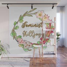 Feminist Killjoy - Floral Wreath Wall Mural