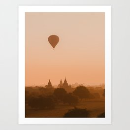 Dreamy Sunrise in Bagan, Myanmar temples with Hot Air Balloon | Asia Photography Art Print