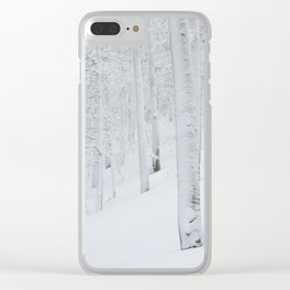 Snow covered forest winter wonderland Clear iPhone Case