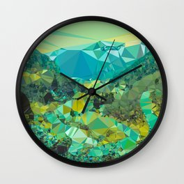 Mountain Village Landscape Low Poly Geometric Triangles Wall Clock