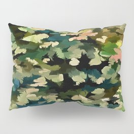 Foliage Abstract In Green, Peach and Phthalo Blue Pillow Sham