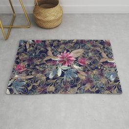 Navy blue pink purple watercolor gold lace floral Rug