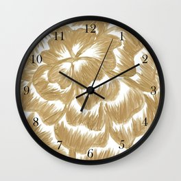 Golden Dahlia Flower Wall Clock