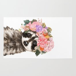 Baby Raccoon with Flowers Crown Rug