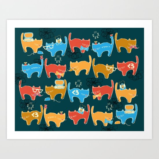 Geek Chic Cats {Nerds, Cameras, Computers, Bow Ties & Glasses} Art Print