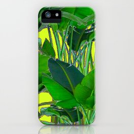 DECORATIVE TROPICAL GREEN FOLIAGE & CHARTREUSE ART iPhone Case