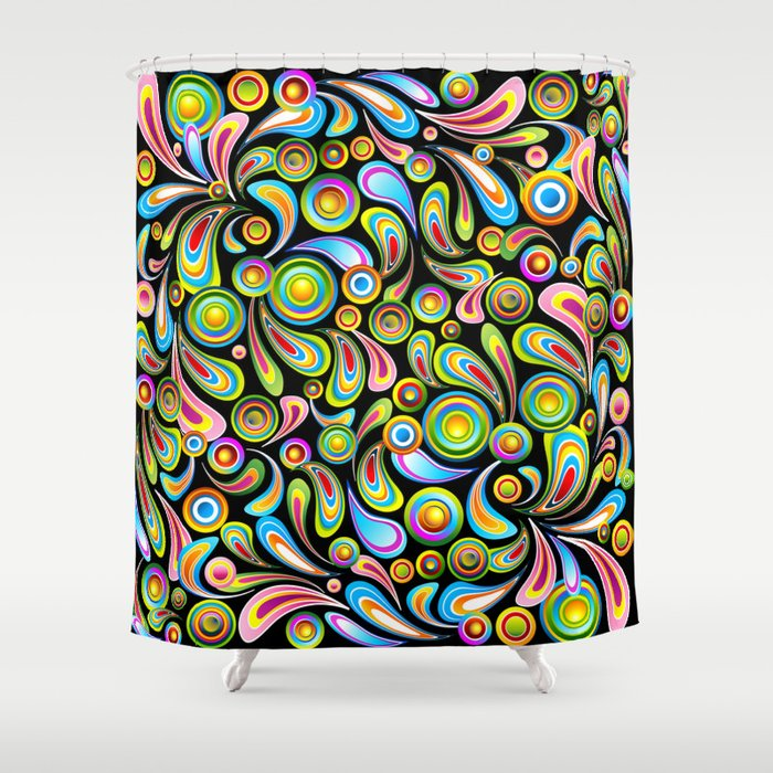 Psychedelic Color Drops Abstract Art Design Shower Curtain