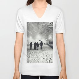 New York City Snow Bryant Park Unisex V-Neck