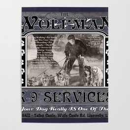Wolfman K-9 Services Metal Sign Poster