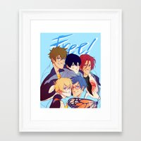 iwatobi Framed Art Prints featuring 2nd season by JohannaTheMad