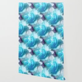 Turquoise abstracted tulips Wallpaper