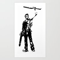 The man with rifle and chainsaw Art Print