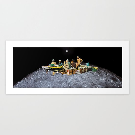 Picnic with Friends, a moon collage Art Print