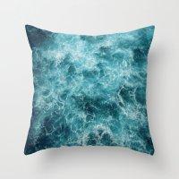 Throw Pillows featuring Blue Ocean Waves by Lostfog Co.