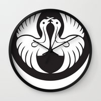 religious Wall Clocks featuring Black And White Birds-Religious Symbol by ArtOnWear