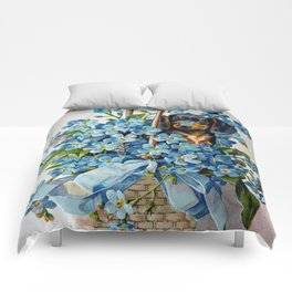 Dachshund and Forget-Me-Nots Comforters