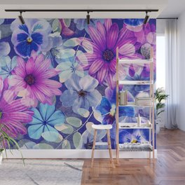Dark pink and blue floral pattern Wall Mural